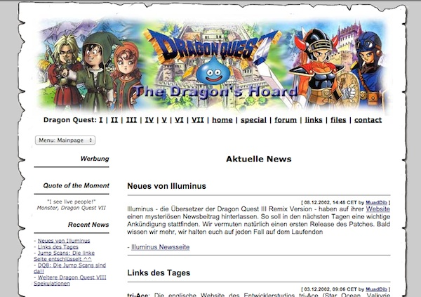 The very first design for the Dragon Quest webpage